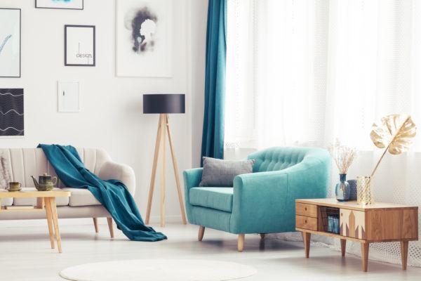 Como hacer cortinas salon azules