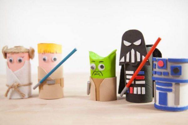 20 ideas para hacer manualidades con rollos de papel Star Wars