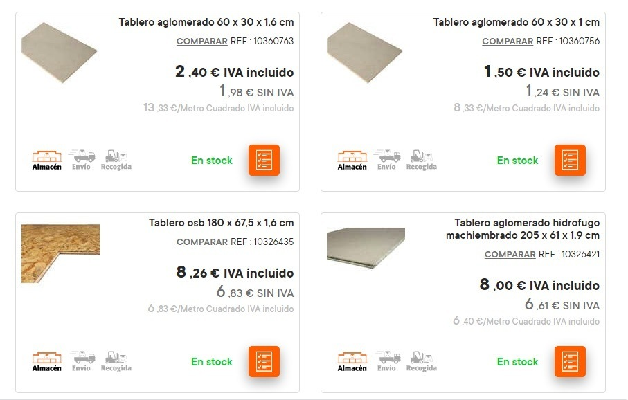 Catalogo bricomart anual MADERA tablero aglomerado