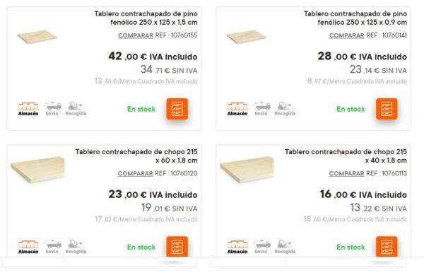 Catalogo bricomart anual MADERA tablero contrachapado
