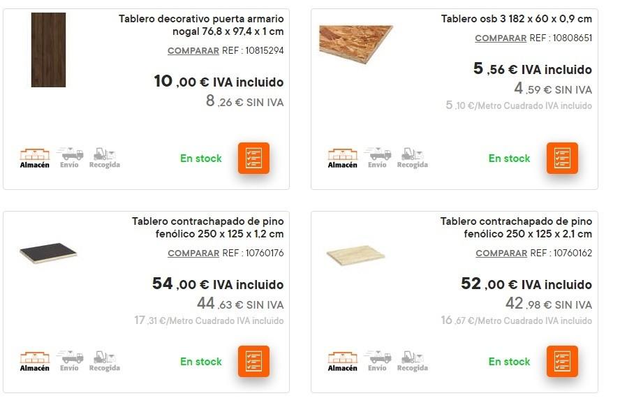 Catalogo bricomart anual MADERA tablero