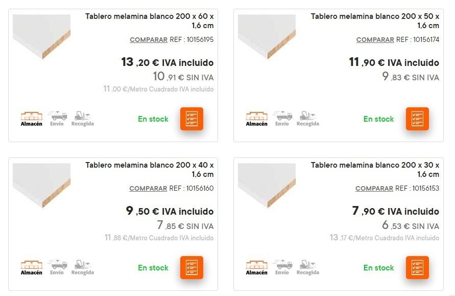 Catalogo bricomart anual MADERA tablero melamina blanco