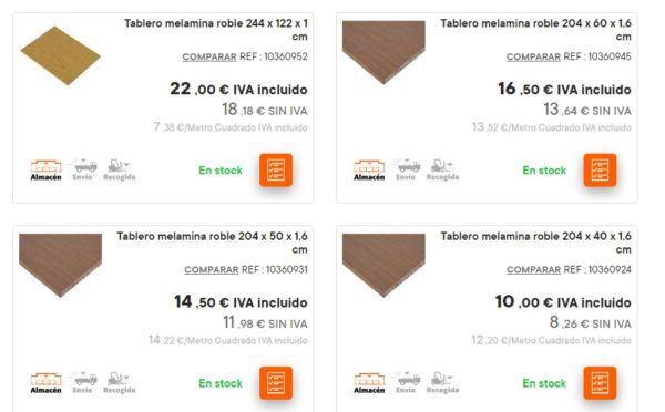 Catalogo bricomart anual MADERA tablero melamina roble