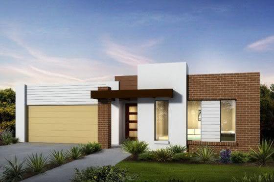 Mejores fotos ideas para fachadas casas pequenas Fachada de casa pequeña con detalle de ladrillo y pintura blanca.