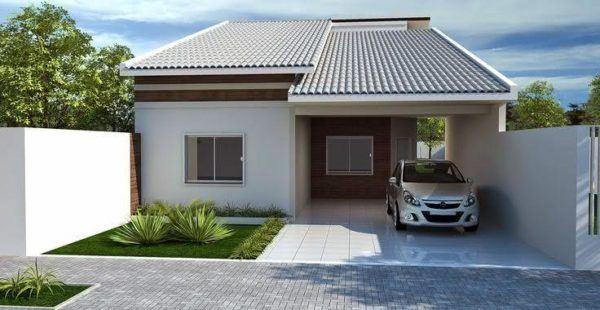 Mejores fotos ideas para fachadas casas pequenas Fachada de casa pequeña con garaje abierto combinando color gris y blanco.