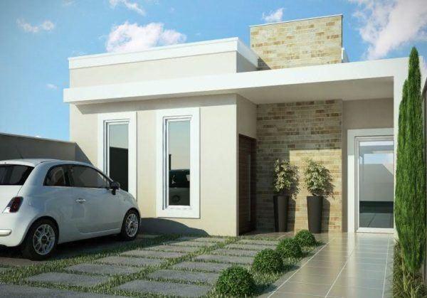Mejores fotos ideas para fachadas casas pequenas Fachada de casa pequeña con ventanas rectangulares