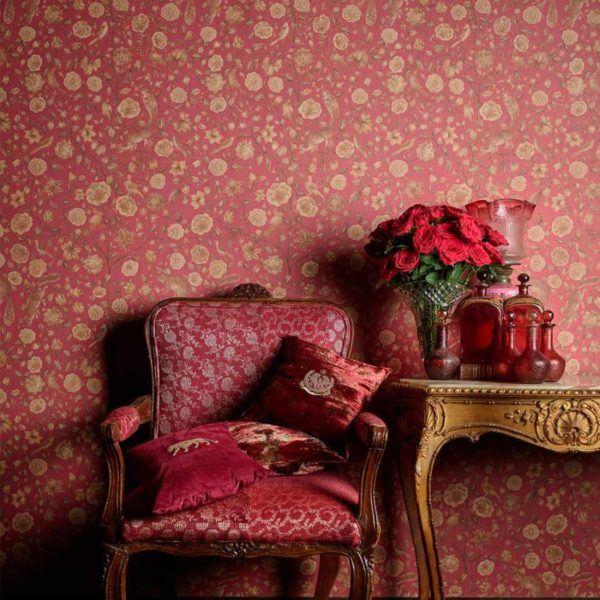 Como decorar paredes casa con papel pintado flores rojas