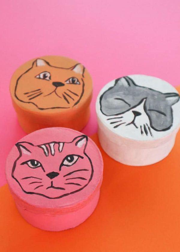Mejores manualidades dia internacional gato cajas de gato pintadas a mano