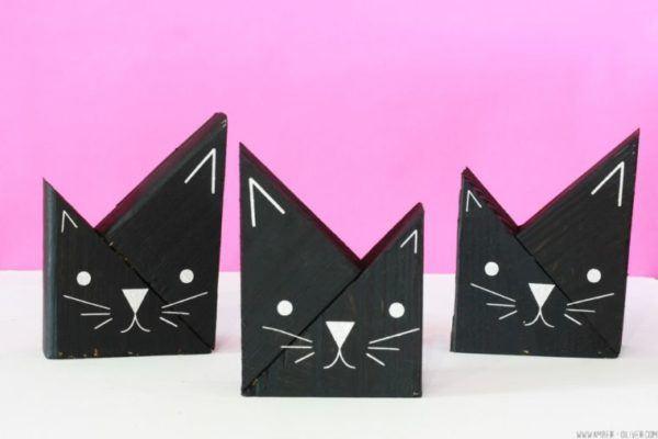 Mejores manualidades dia internacional gato gatos de madera