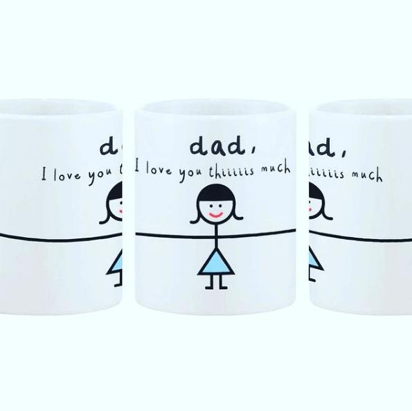 Taza decorada para el Día del Padre abrazo grande