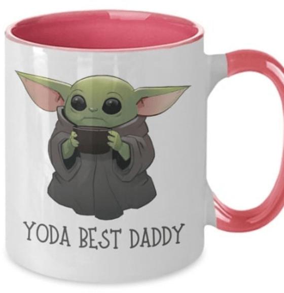 Taza decorada para el Día del Padre Baby Yoda