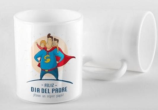Taza decorada para el Día del Padre Super Papá con hijos