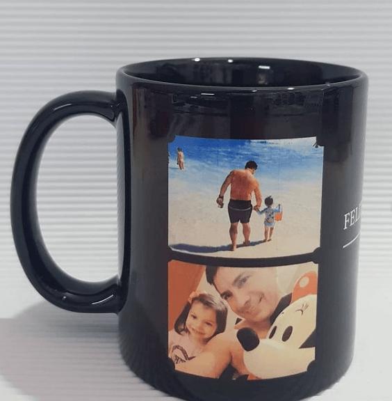 Taza decorada para el Día del Padre dos fotos