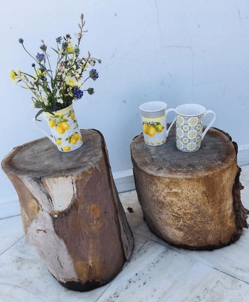 30 Ideas para decorar la terraza en Primavera Verano troncos