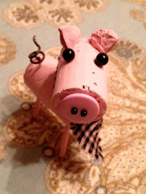 Ideas y consejos para hacer animales con corchos para niños cerdo