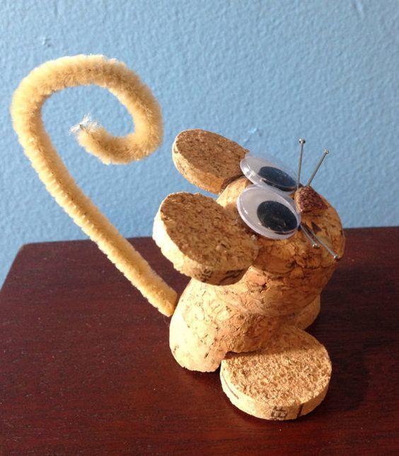 Ideas y consejos para hacer animales con corchos para niños ratoncito