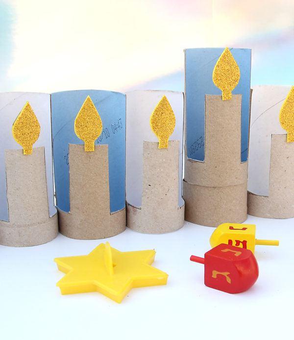 Ideas de manualidades para niños para el día de Hanukkah velas
