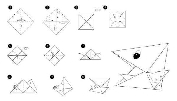 Las mejores ideas de origami para principiantes animales cabeza pajaro