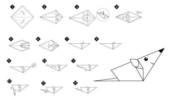 Las mejores ideas de origami para principiantes animales raton