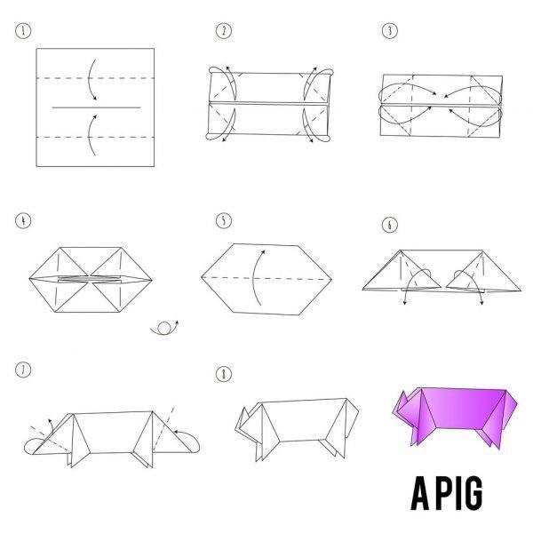 Los origami mas sencillos para hacer con personas mayores y celebrar el dia mundial del origami FOTOS cerdo