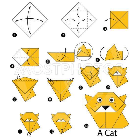 Los origami mas sencillos para hacer con personas mayores y celebrar el dia mundial del origami FOTOS gato amarillo