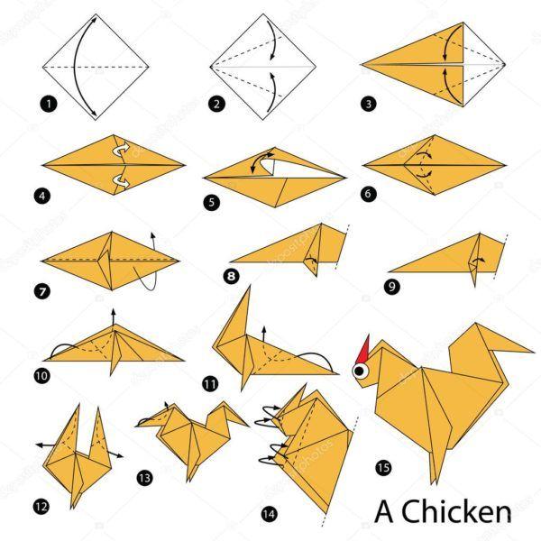 Los origami mas sencillos para hacer con personas mayores y celebrar el dia mundial del origami FOTOS pollo