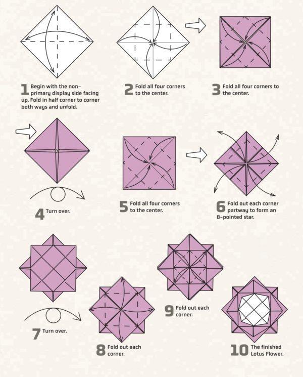 Los origami mas sencillos para hacer con personas mayores y celebrar el dia mundial del origami flor de loto
